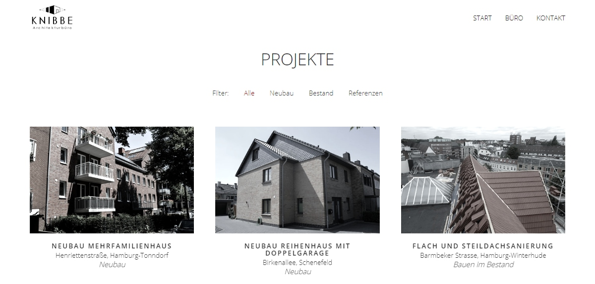 Knibbe Architekturbüro Projekte Website