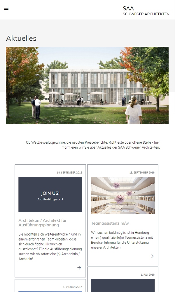 SAA Schweger Architekten Website