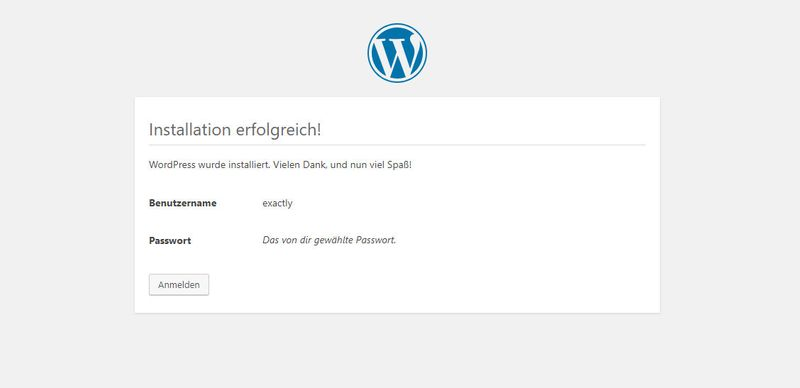 Wordpress Tutorial - Finale WordPress Erfolgsmeldung - Deutsch