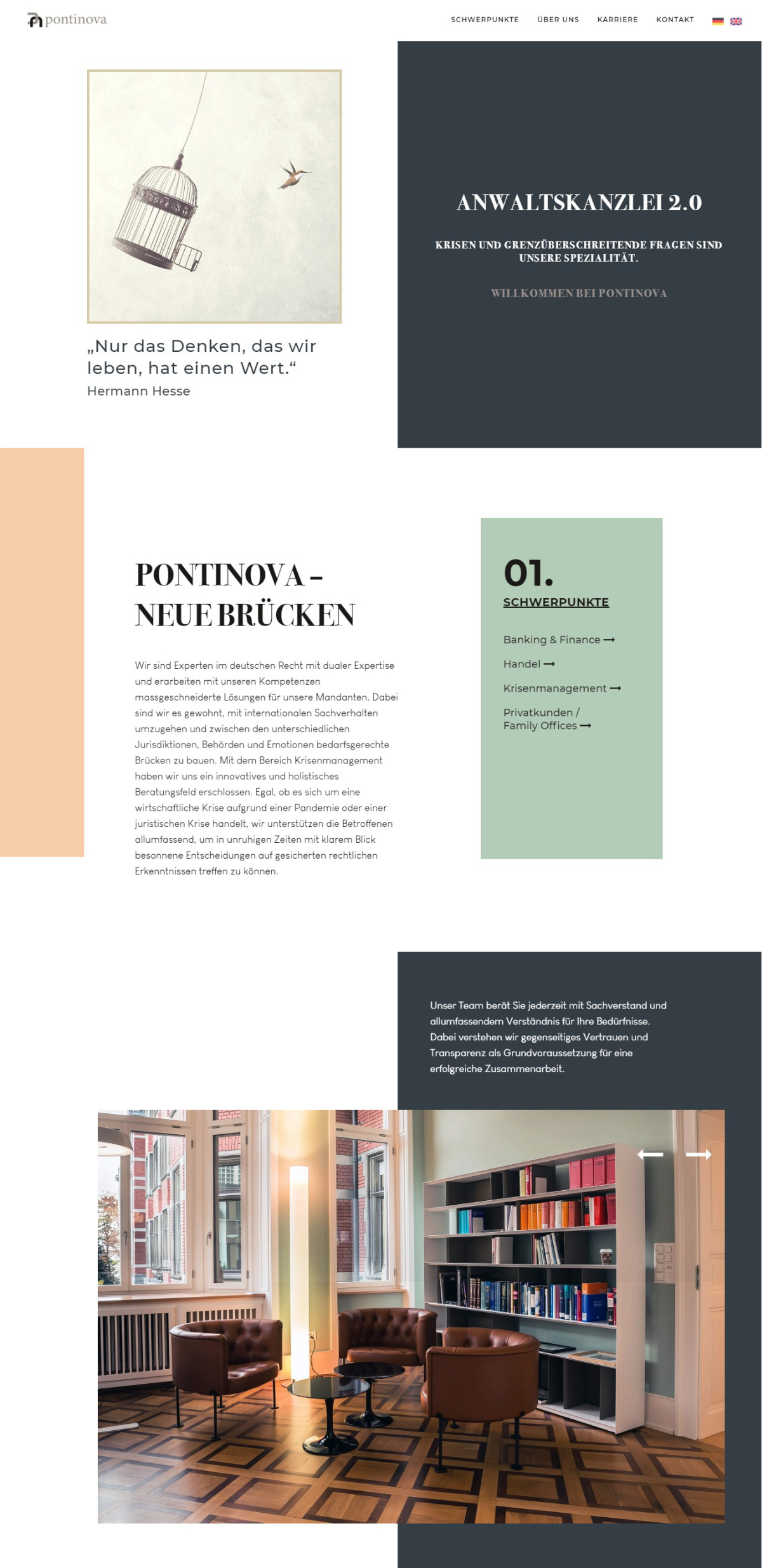 Pontinova Anwalts Boutique Webdesign Inspiration