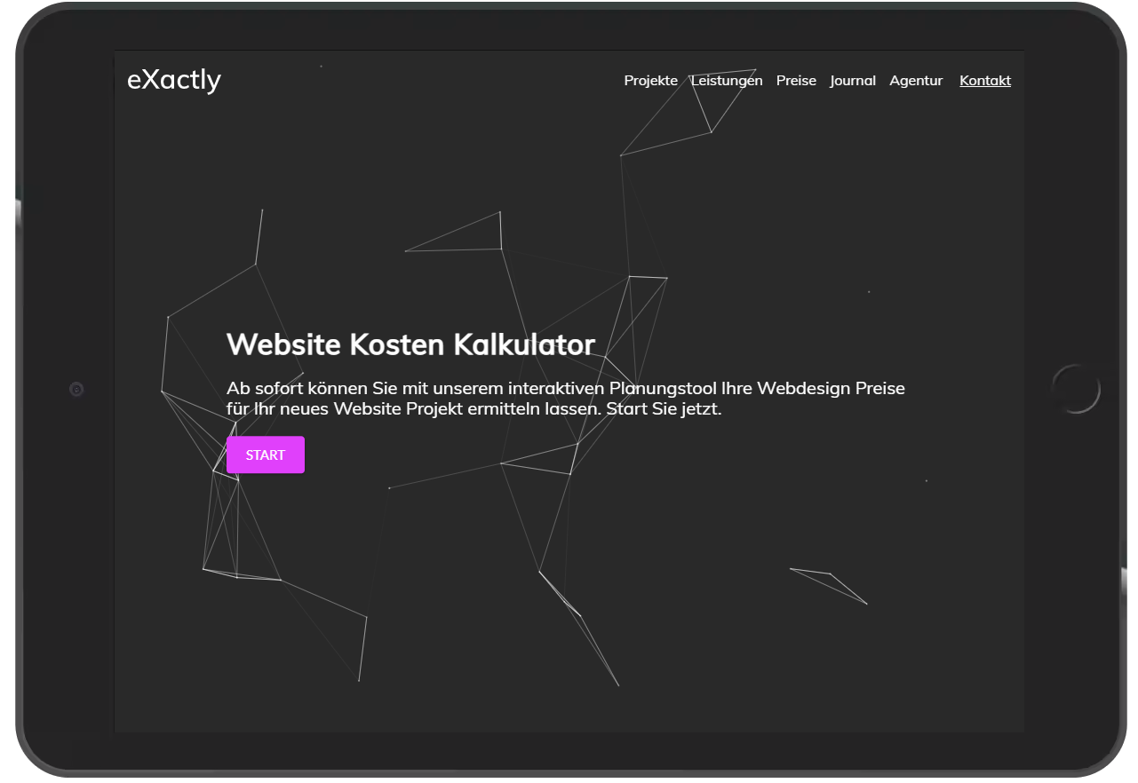 Interaktive Websites Preisrechner